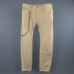 DSQUARED2 Size 30 Washed Khaki Tan Leather Strap Cotton Chino Pants
