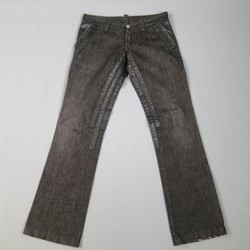 DSQUARED2 Size 32 Black Cotton & Leather Burner Jeans