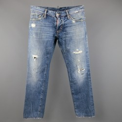 DSQUARED2 Size 32 Blue Distressed Paint Splatter Denim Jeans