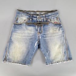 DSQUARED2 Size 32 Distressed Denim Belted Embroidered Shorts