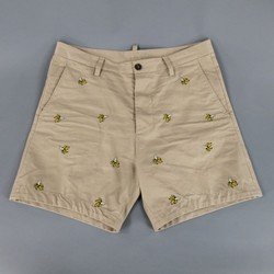 DSQUARED2 Size 33 Khaki Banana Print Embroidered Cotton Bermuda Shorts