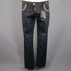 DSQUARED2 Size 34 Indigo Contrast Stitch Denim Jeans