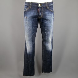 DSQUARED2 Size 34 Washed Indigo Distressed  Denim Jeans