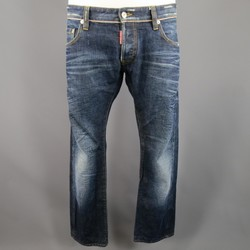 DSQUARED2 Size 34 Washed Indigo Selvedge Distressed Denim Jeans