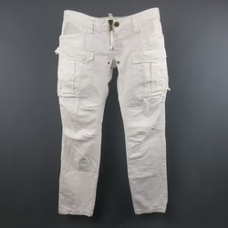 DSQUARED2 Size 34 White Cotton Zip Cargo Utility Pants