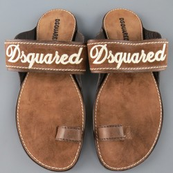 DSQUARED2 Size 8 Brown Embroidered Logo Suede Sandals