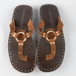 DSQUARED2 Size 9 Brown Solid Suede Harness Loop Thong Sandals