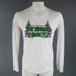 DSQUARED2 Size L White & Green Twin Pine's Long Sleeve V Neck T-Shirt