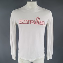 DSQUARED2 Size L White Cotton Blame Canada Print Long Sleeve T-shirt