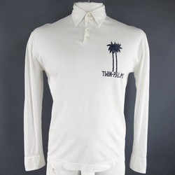 DSQUARED2 Size L White Pique Long Sleeve Twin Palms Print Polo