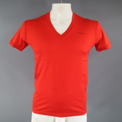 DSQUARED2 Size M Red Orange Cotton V Neck T-shirt