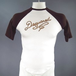 DSQUARED2 Size M White & Brown Cotton Raglan Sequin Baseball T-shirt