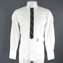 DSQUARED2 Size M White Cotton Long Sleeve Simulated Tie Front Shirt