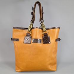 DSQUARED2 Tan & Brown Leather Double Perforated Strap Tote Bag