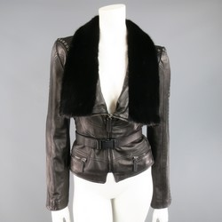EMANUEL UNGARO Size 2 Black Grommet Leather Mink Fur Collar Cropped Biker Jacket
