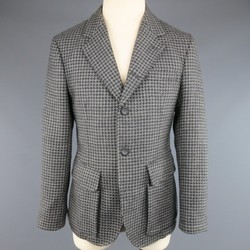 EMPORIO ARMANI 40 Grey Houndstooth Wool Patch Pocket  Sport Coat
