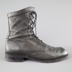 EMPORIO ARMANI Size 10 Charcoal Solid Leather Boots