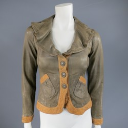 EMPORIO ARMANI Size 2 Taupe & Tan Wrinkled Lapel Cropped Leather Jacket