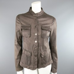 EMPORIO ARMANI Size 6 Taupe Distressed Leather Nehru Collar Snap Pocket Jacket