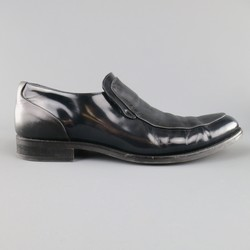 EMPORIO ARMANI Size 8.5 Black Patent & Smooth Leather Loafers