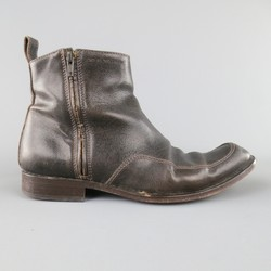 EMPORIO ARMANI Size 8.5 Distressed Brown Textured Leather Zip Ankle Boots