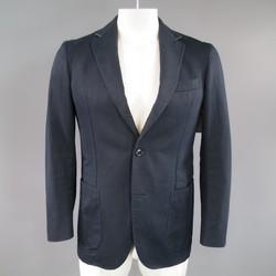 ERMENEGILDO ZEGNA 38 Regular Navy Cotton / Linen Notch Lapel Sport Coat