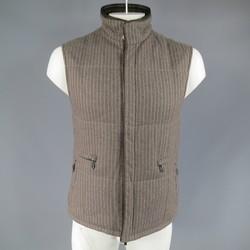 ERMENEGILDO ZEGNA 38 Taupe Pinstripe Leather Trimmed Reversible Vest