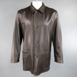 ERMENEGILDO ZEGNA 42 Brown Leather & Black Polyester Blend Reversible Coat