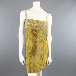 ESCADA COUTURE Size 10 Metallic Gold Brocade Sequin Bust Cocktail Dress