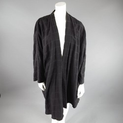 ESKANDAR Black Textured Cotton Kimono Robe Coat