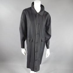 ESKANDAR Size One Size Charcoal Linen Overcoat