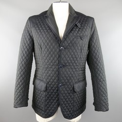 ETRO 42 Navy Quilted Paisley Polyester 3 Button Sport Coat Jacket