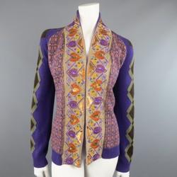ETRO Size 10 Purple Orange & Green Wool Blend Sequin Trim Cardigan