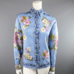 ETRO Size 12 Blue Floral Print Silk French Cuff Blouse