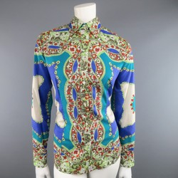 ETRO Size 14 Blue & Green Floral Bandana Print Cotton Blouse