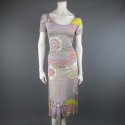 ETRO Size 4 Lavender Pastel Paisley Print Jersey Midi Dress