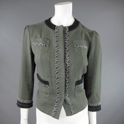 ETRO Size 6 Sage Green Flax Black Beaded & Printed Trim Pocket Jacket