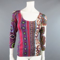 ETRO Size 8 Burgundy & Purple Striped Paisley Scoop Neck Pullover