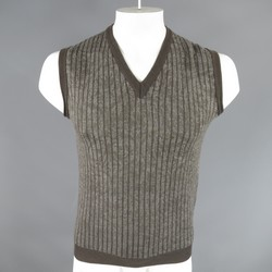 ETRO Size M Brown & Grey Wool Box Knit Sweater Vest