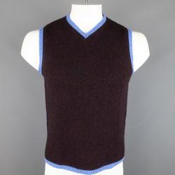 ETRO Size M Plum & Blue Heather Merino Wool V Neck Sweater Vest