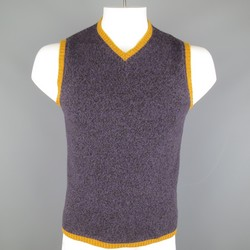 ETRO Size M Purple & Gold Heather Merino Wool V Neck Sweater Vest