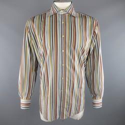 ETRO Size XL Blue & Orange Multicolor Stripe Cotton Long Sleeve Shirt