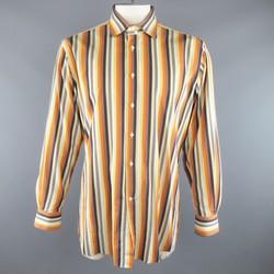 ETRO Size XL Orange & Black Stripe Cotton Spread Collar Long Sleeve Shirt