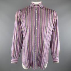 ETRO Size XL Purple & Green Aztec Stripe Cotton Spread Collar Long Sleeve Shirt