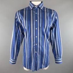 ETRO Size XXL Blue Glenplaid Stripe Cotton Spread Collar Long Sleeve Shirt