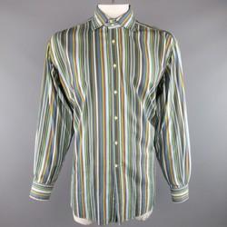 ETRO Size XXL Blue Green & Orange Multi Stripe Cotton Spread Collar Dress Shirt