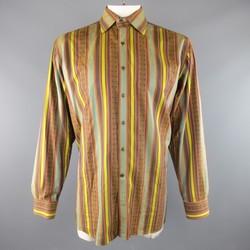 ETRO Size XXL Brown & Gold Stripe Pattern Cotton Spread Collar Long Sleeve Shirt
