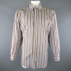 ETRO Size XXL Gray Stripe Cotton Long Sleeve Shirt