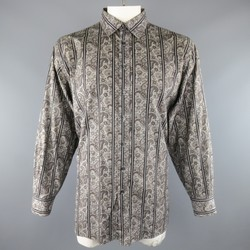 ETRO Size XXL Grey Striped Paisley Cotton Long Sleeve Shirt