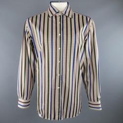 ETRO Size XXL Multi-Color Glenplaid Stripe Cotton Long Sleeve Shirt